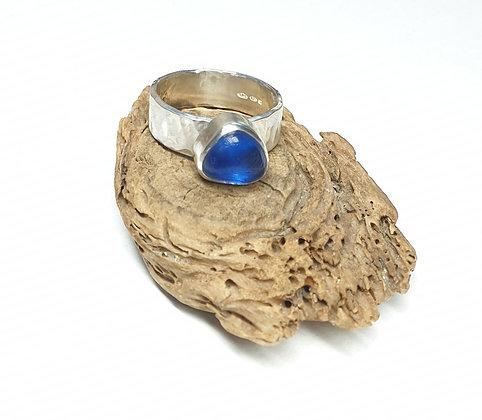 Electric blue seaglass ring (Q 1/2/R/R 1/2)