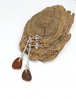 Caramel twisted nugget stud dangles