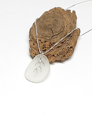 White seaglass pendant with branching bail