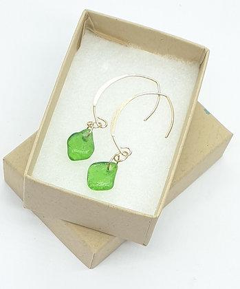 Green sea glass droplets on 14k filled gold earrings