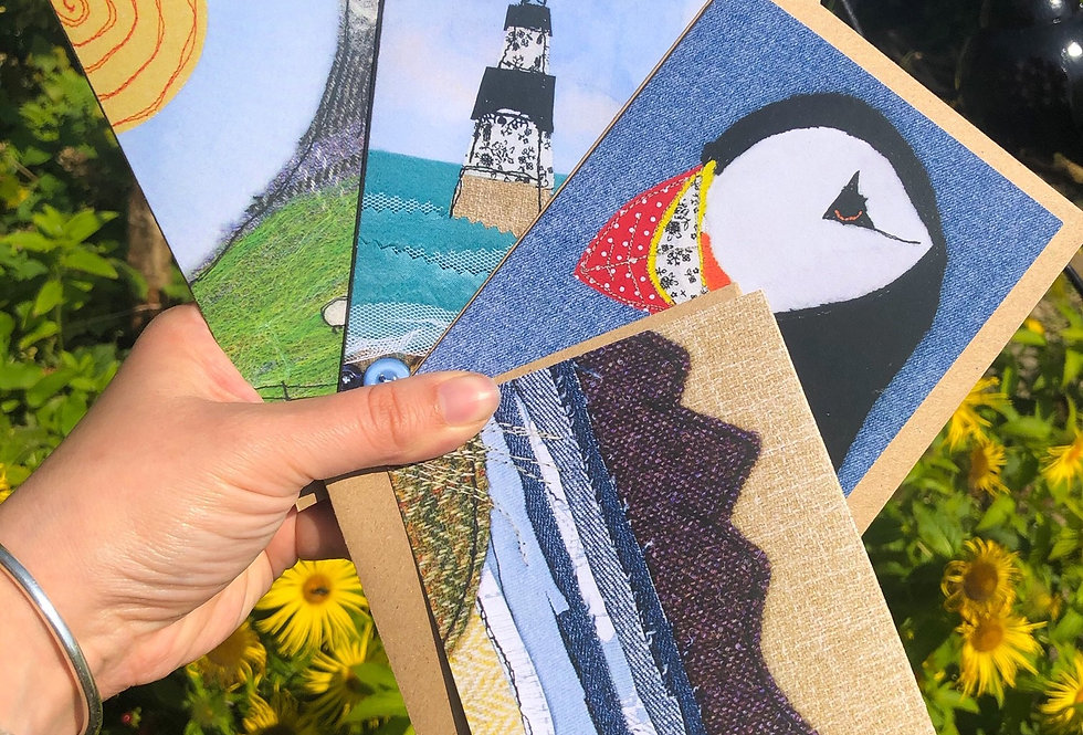 Cards of upcycled material prints