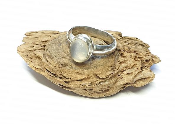 Moonstone-effect seaglass ring (N)