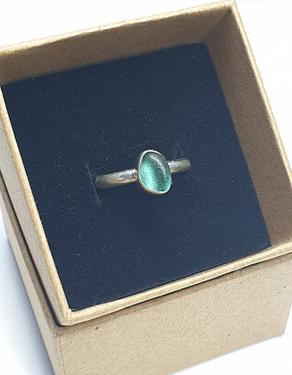 Tealy turquoise seaglass ring (P)