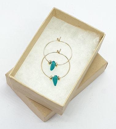 Vivid turquoise sea glass, 20mm 14k gold hoop earrings