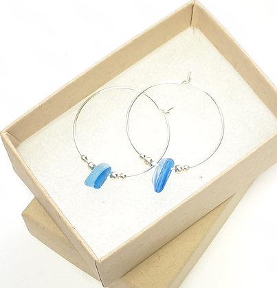 Stripy blue seaglass fine hoop earrings