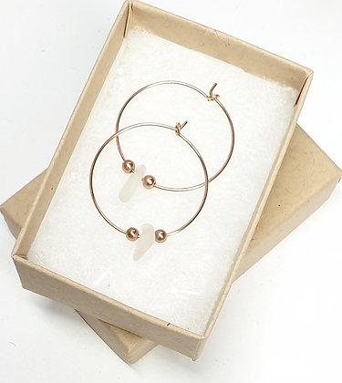 Clear seaglass, 25mm rose gold hoop earrings