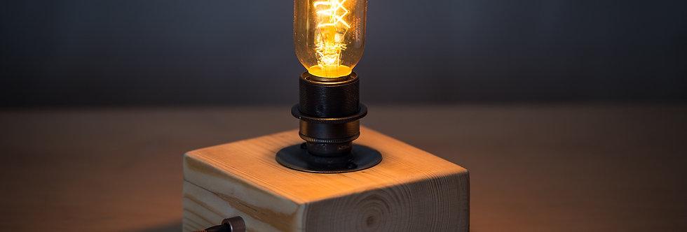 Wooden block desk lamp