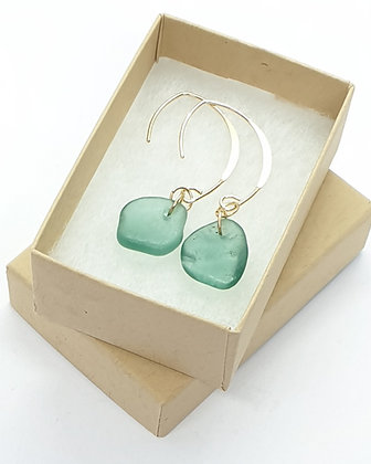 Turquoise seaglass droplets on 14k gold earrings