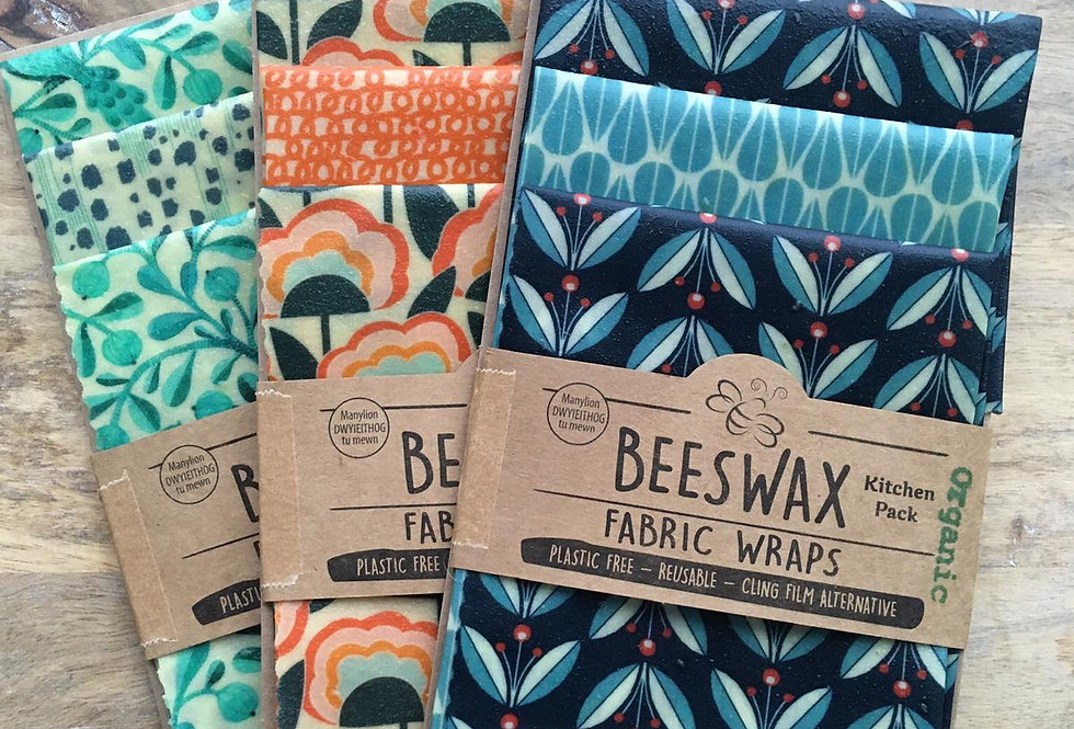 Beeswax Wraps - 3 Kitchen Pack - Organic