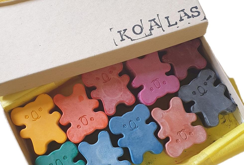 TEN handmade eco-crayons -koalas