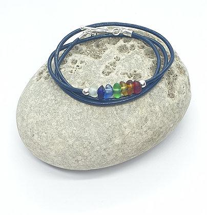 Rare Chakra Triple wrap leather bracelet (51cm/S)