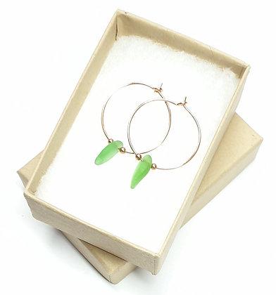 Green seaglass, 20mm rose gold hoop earrings
