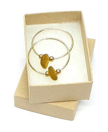 Honey yellow seaglass, 30mm 14k gold sleeper earrings