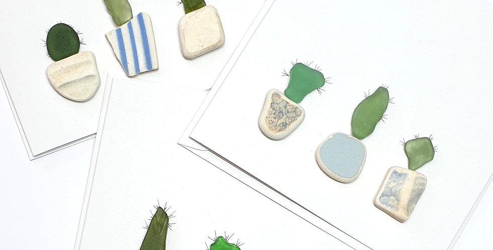 Sea Glass Greetings Cards - Cacti