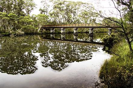 Pedestrian bridge and reflections at Denmark, Western Australia.