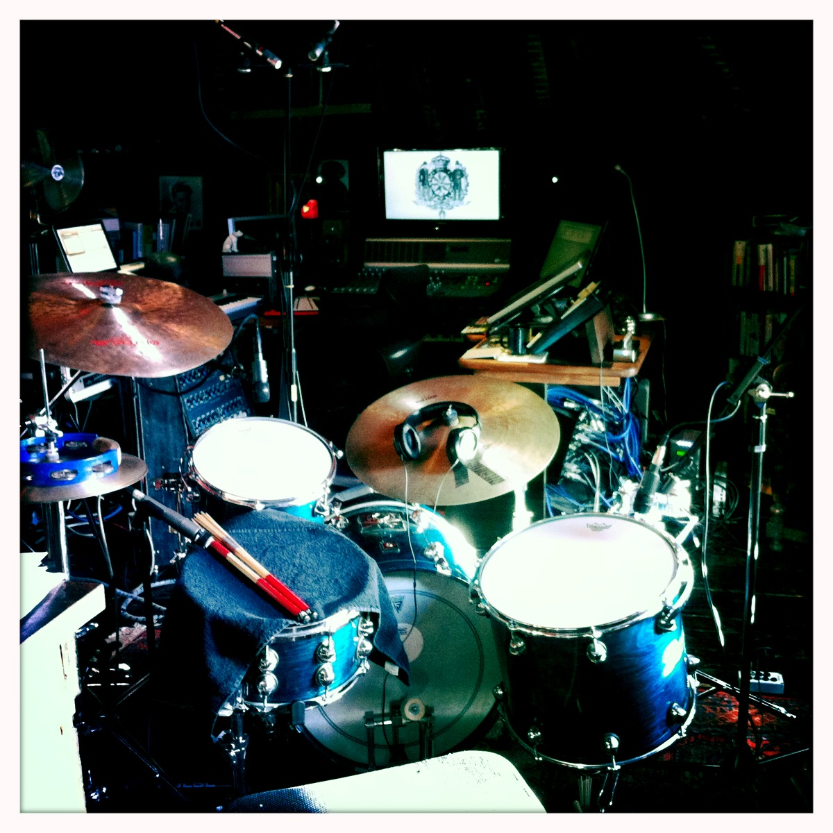 recording drums for Little White Caravan