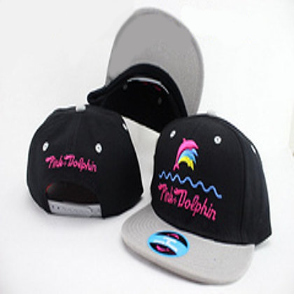 Kids Black/ Grey Pink Dolphin adjustable snapback