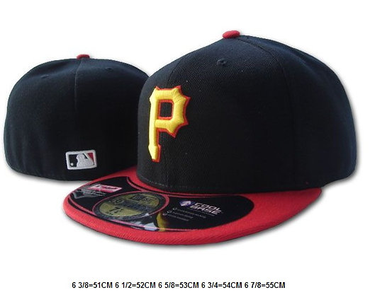 Sz 6 5/8 Blk/red Pittsburgh Pirates fitted hat
