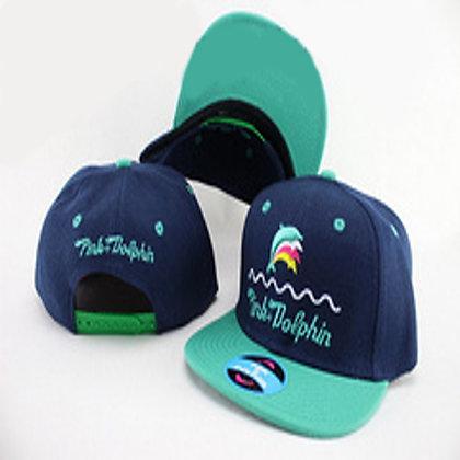 Kids Navy/ Green Pink Dolphin adjustable snapback
