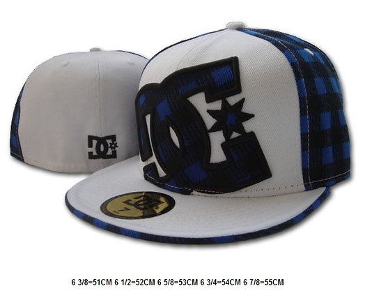 Sz 6 1/2 White/ Blue DC fitted hat