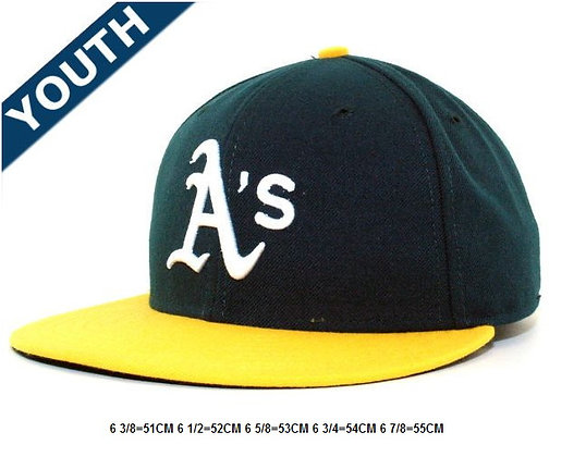 Sz 6 5/8 Green/yellow Oakland Athletics fitted hat