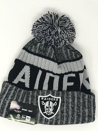 Oakland Raiders Pom Knit Beanie