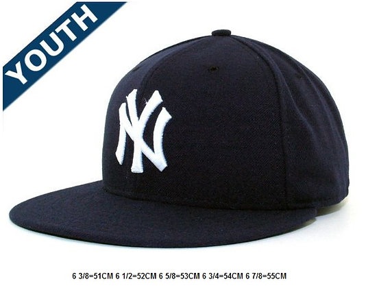 Sz 6 1/2 Navy/ White New York fitted hat