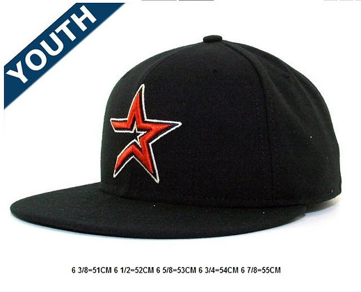 Sz 6 3/8 Black/ orange Houston fitted hat
