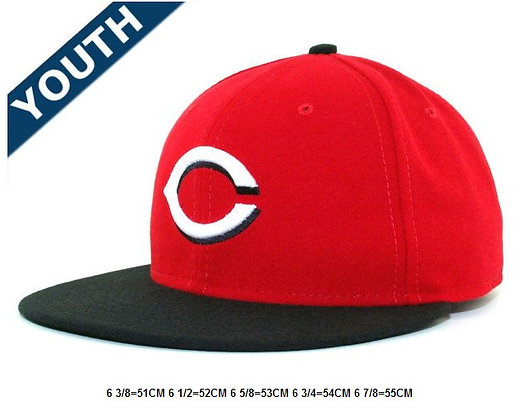 Sz 6 3/4 Red/ Black Cincinatti Reds fitted hat