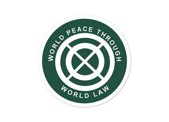"""World Peace Through World Law"" Sticker"