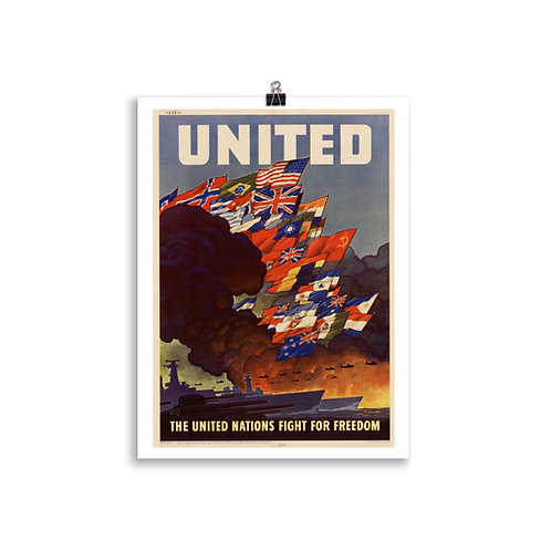 """The United Nations Fight For Freedom"" Poster"