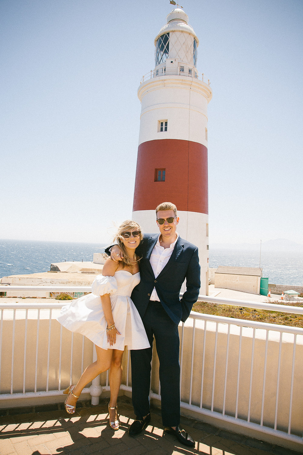 Cool elopement couple at Europa Point Lighthouse in Gibraltar