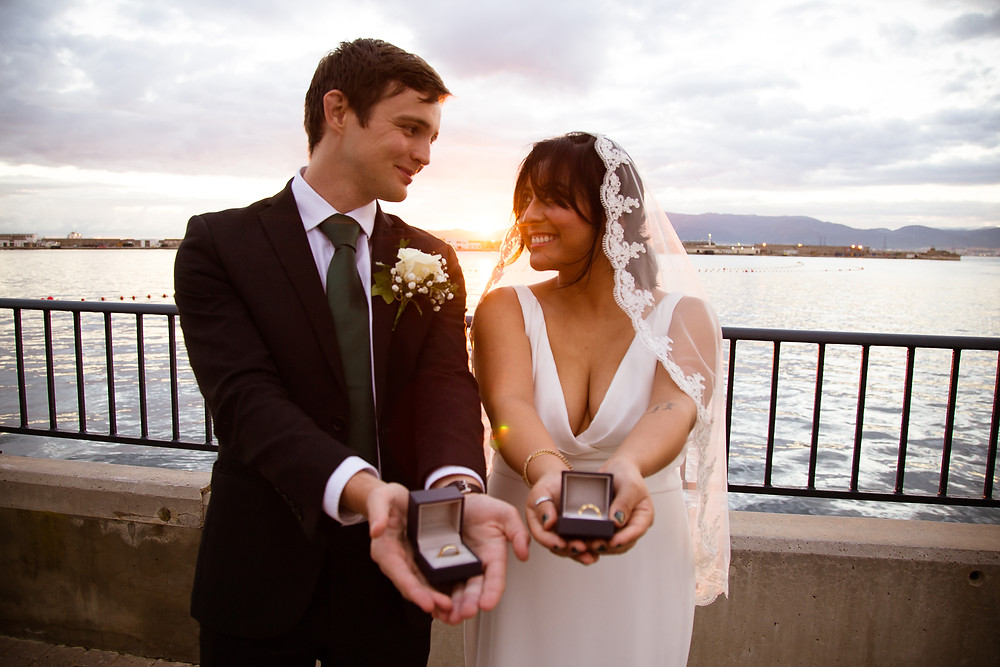 Romantic sunset Gibraltar elopement wedding in the marina