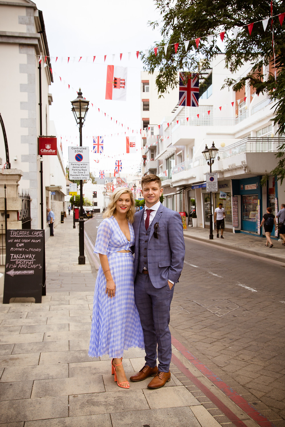 Elopement couple choosing to wear blue for their Gibraltar marriage