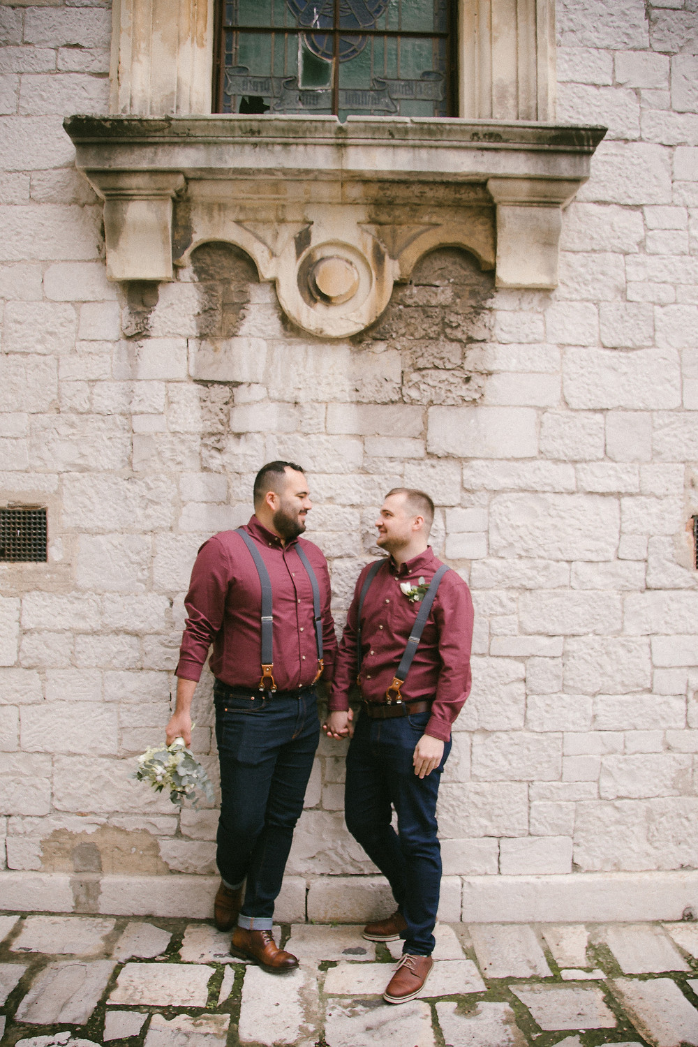 Gay couple in matching outfits for their Gibraltar elopement