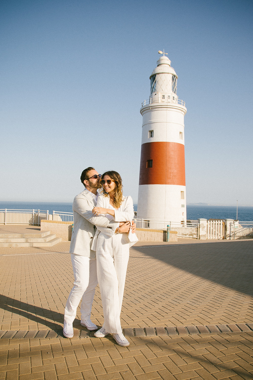 Gibraltar Registry office,Cool elopement wedding outfits Gibraltar John Lennon and Yoko style