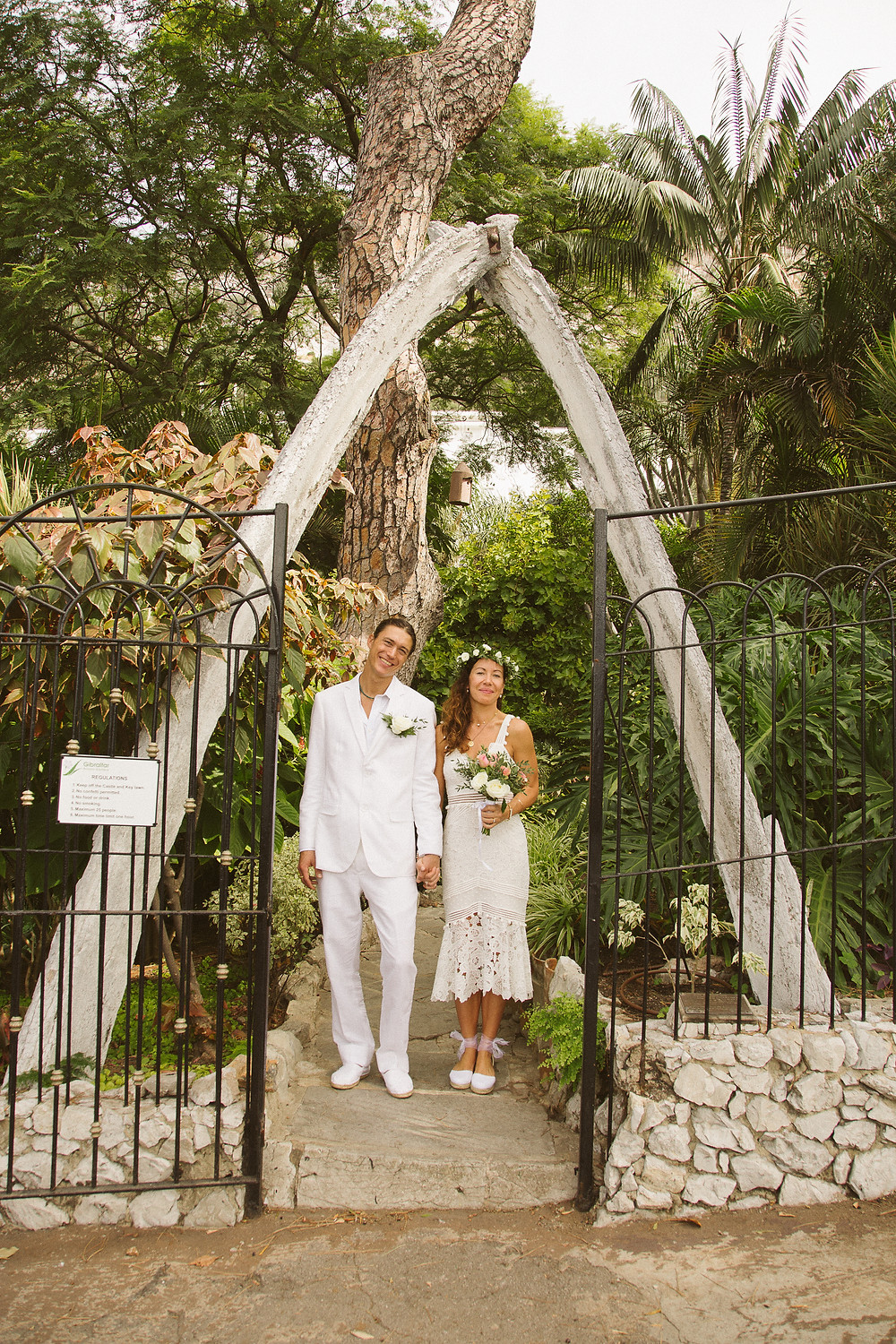 Groom in white suit for Gibraltar marriage