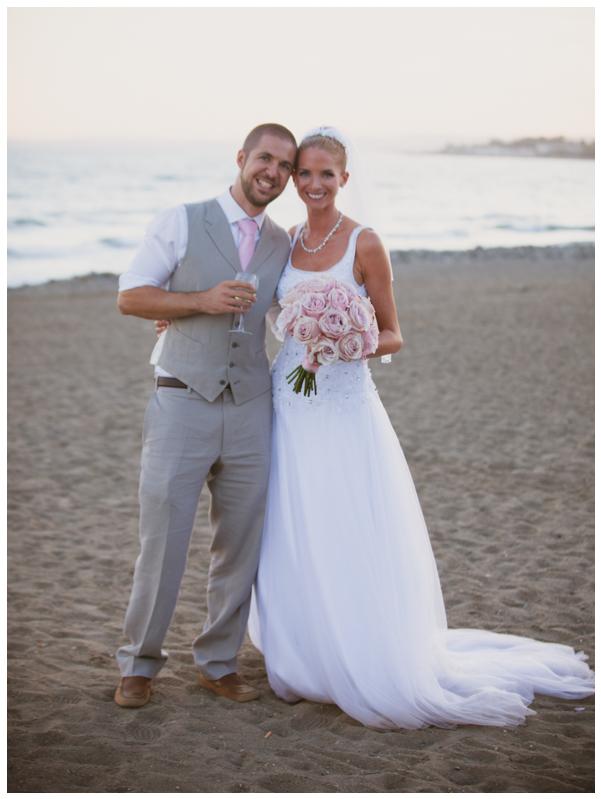 bride and groom sunset beach wedding