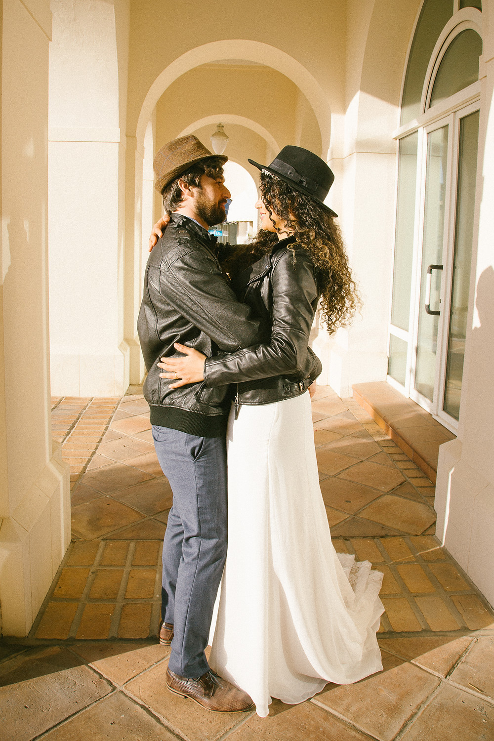 Couple in leather jackets getting married in Gibraltar