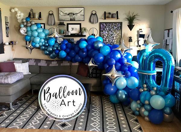 Blue organic balloon garland long beach.