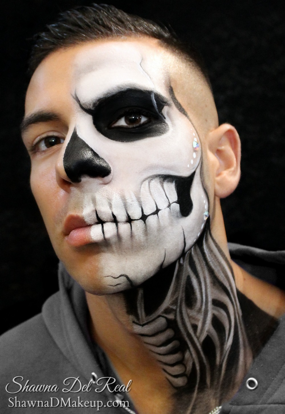 black and white mens sugar skull