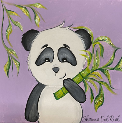 Panda canvas painting for kids