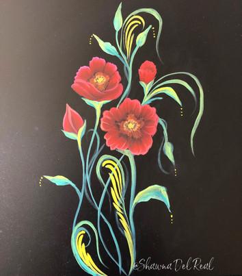 poppies on black canvas