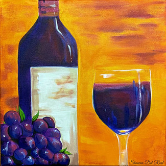 wine glass and bottle paint night
