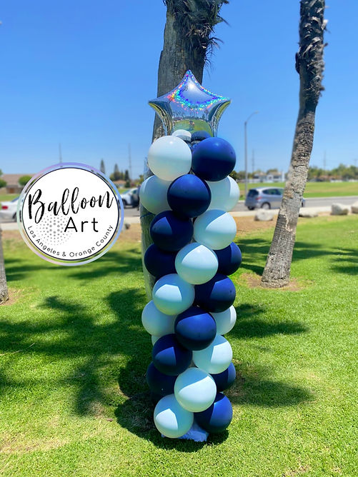 5ft balloon column with star in long bea