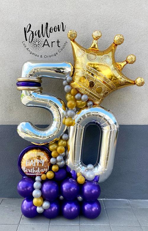 silver 50 balloon arrangement
