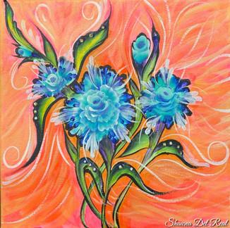 blue rose burst on canvas