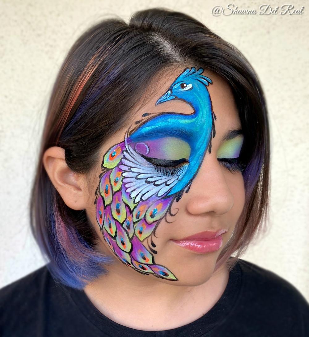 peacock sealight face paint by Shawna De