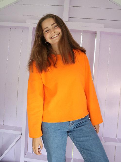 The Simple Cotton Sweater - SOFT ORANGE