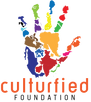Culturefied logo hand made up of the continents